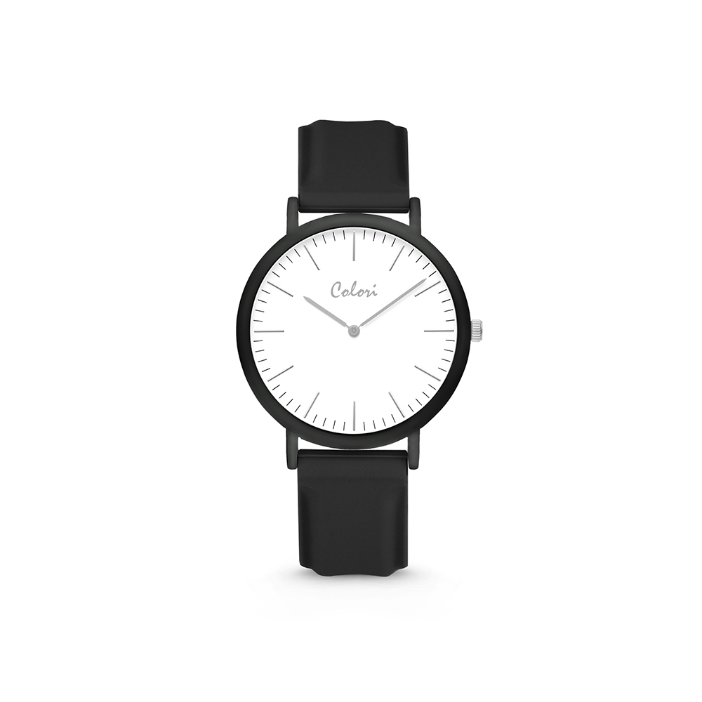 Colori Essentials 5 COL590 Horloge - Siliconen Band - Ø 30 mm - Zwart