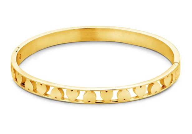 CO88 Collection 8CB-90094 - Stalen bangle met hartjes - one-size - goudkleurig