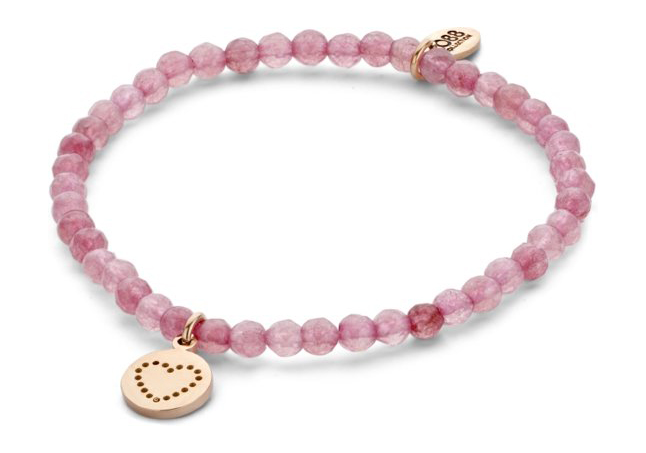 CO88 Collection 8CB-90154 Natuurstenen armband met hanger hart 4 mm Jade one-size roze
