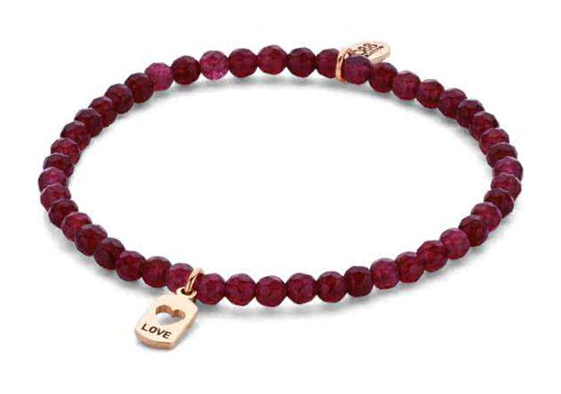 CO88 Collection 8CB-90155 Natuurstenen armband met hanger love 4 mm Jade one-size rood