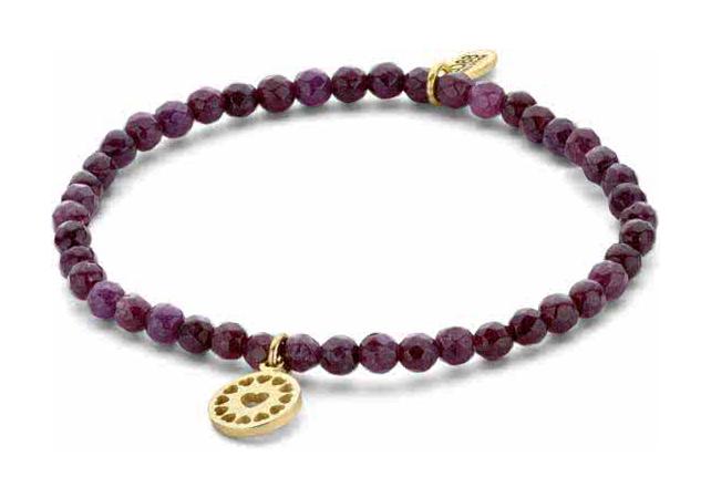 CO88 Collection 8CB-90157 Natuurstenen armband met hanger hart 4 mm Jade one-size paars