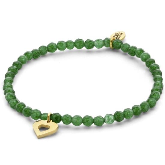 CO88 Collection 8CB-90160 Natuurstenen armband met hanger hart 4 mm Jade one-size groen