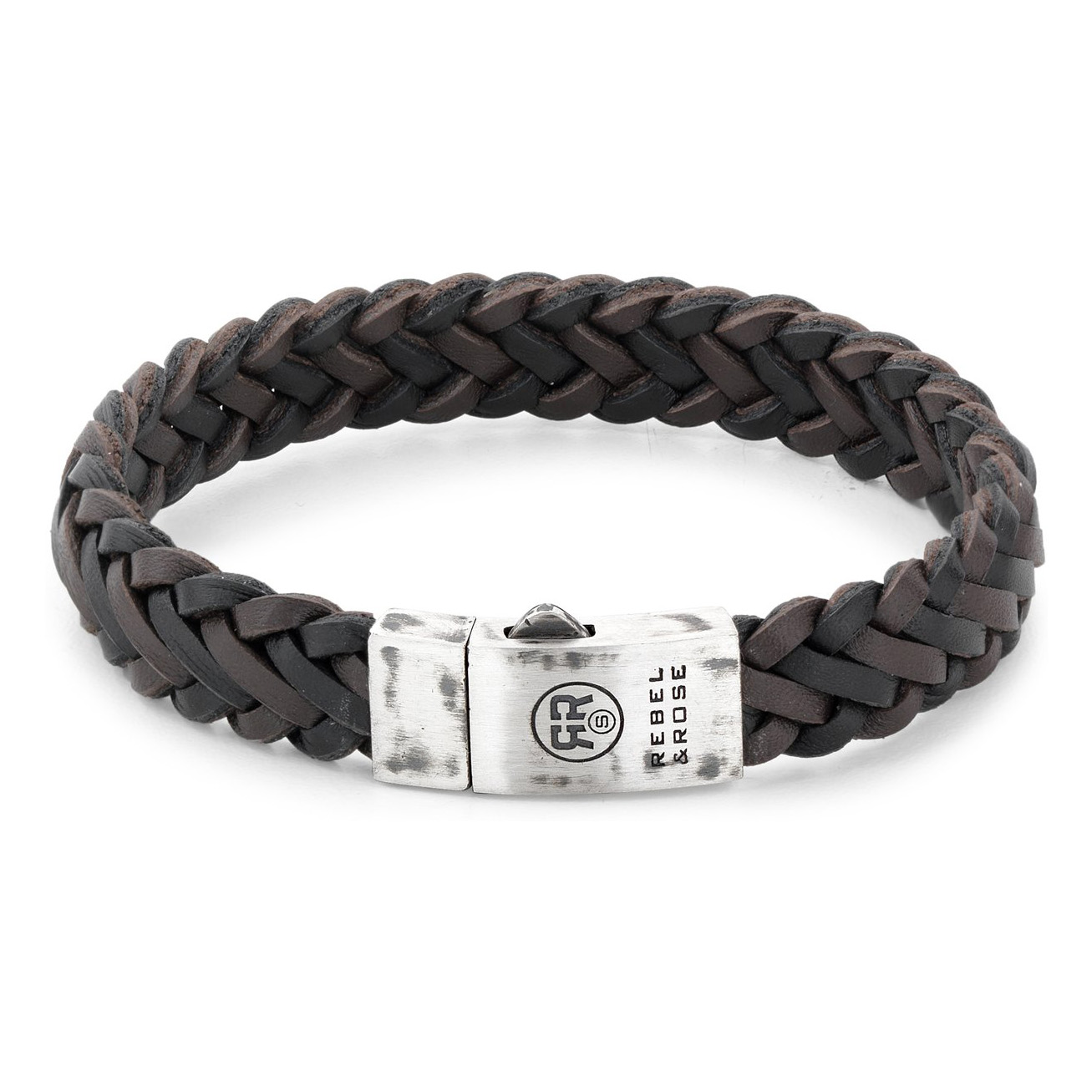 Rebel and Rose RR-L0075-S Armband Braided Raw Mat Black-Earth 21 cm