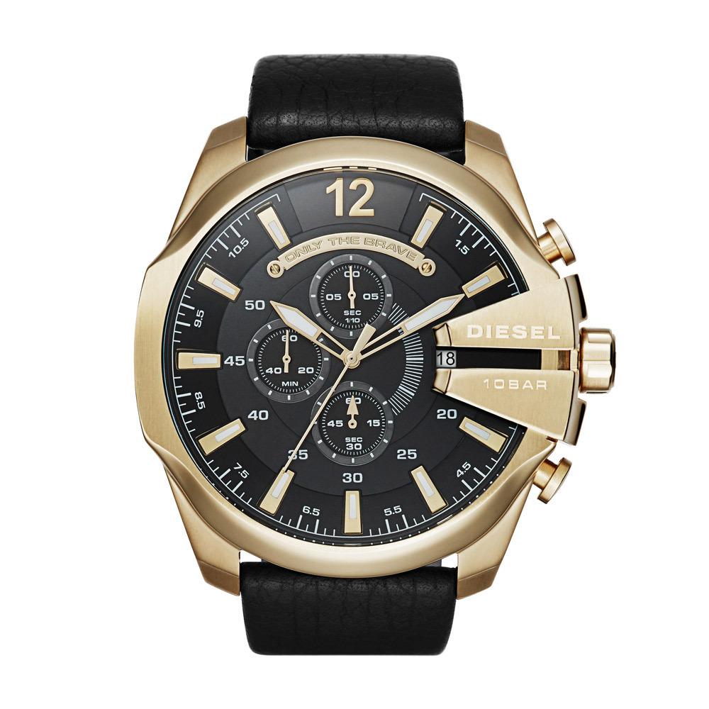 Diesel Horloge Chronograaf Mega Chief staal leder goudkleurig zwart DZ4344