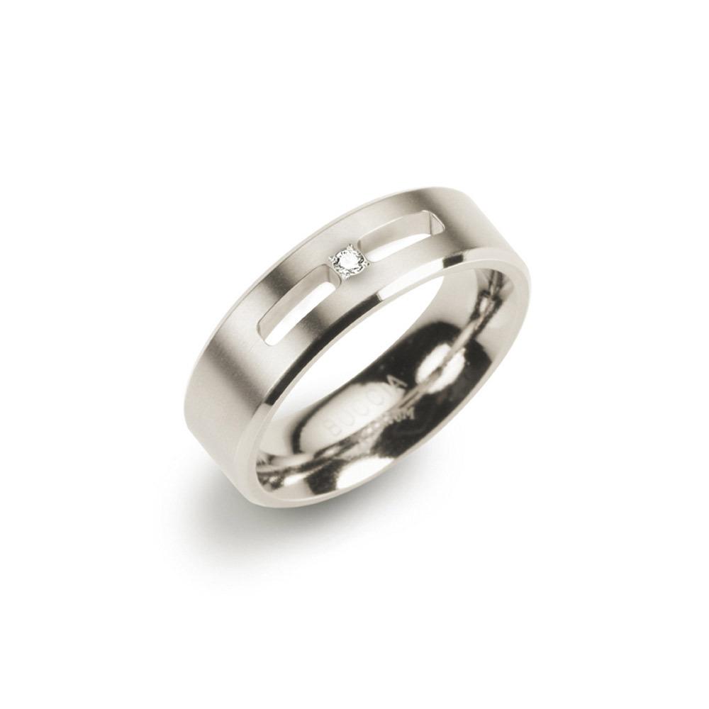Boccia 0101 26 Ring Titanium met diamant zilverkleurig 6 mm 0,02 crt Maat 50