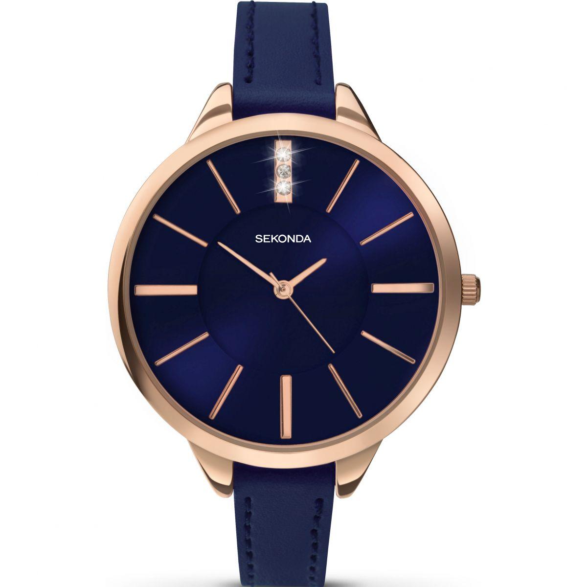 Sekonda Robuust rosgoudkleurig horloge voor dames met blauwe wijzerplaat roze