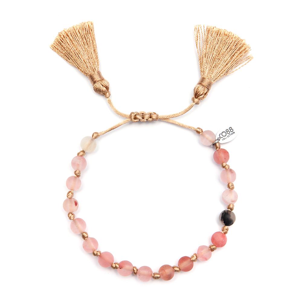 Afbeelding van CO88 8CB 80034 Armband met kwast Sand multicolors schuifsluiting, one size