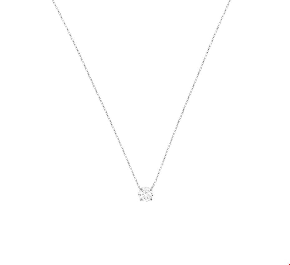 The Jewelry Collection Ketting Zirkonia 0,8 mm 40 + 3 cm - Witgoud