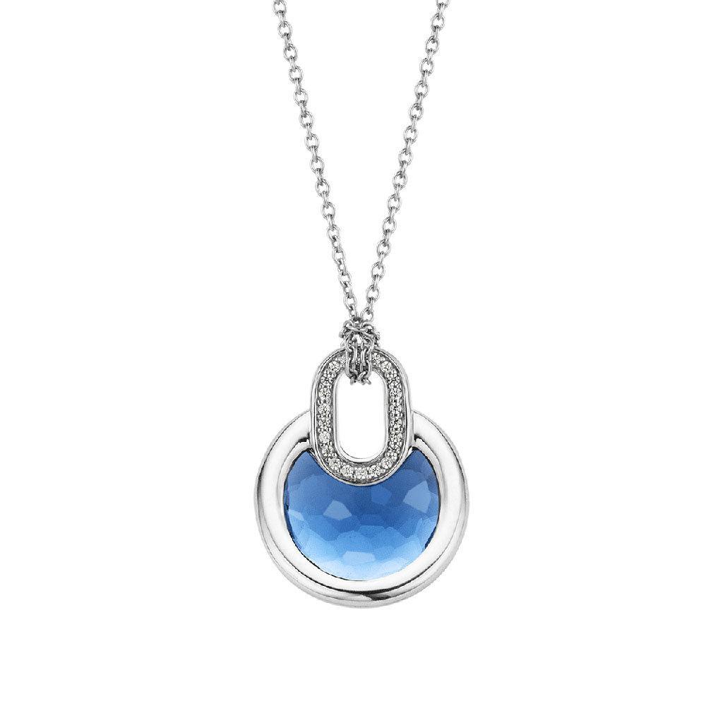 TI SENTO - Milano 3887DB Ketting zilver met blauwe zirconia 42 cm