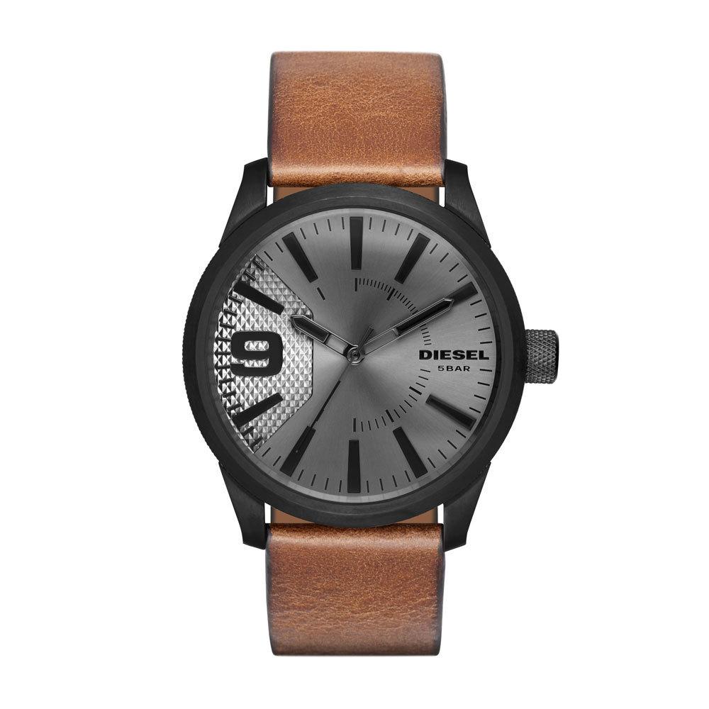 Diesel DZ1764 Horloge Rasp staal leder zwart bruin 53 mm