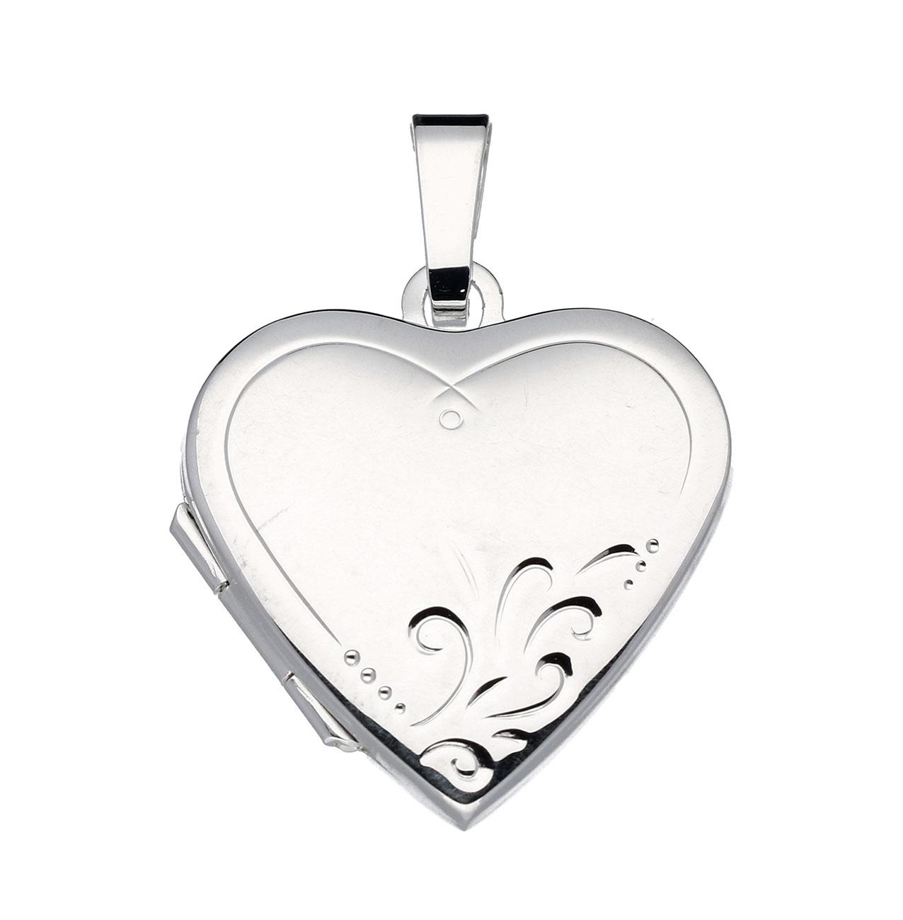 Best Basics 145.0034.00 Medaillon zilver Hart met Bloemgravure 20 mm