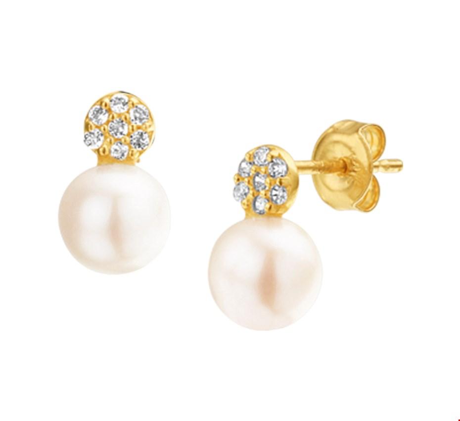 The Jewelry Collection Oorknoppen Parel En Zirkonia - Geelgoud
