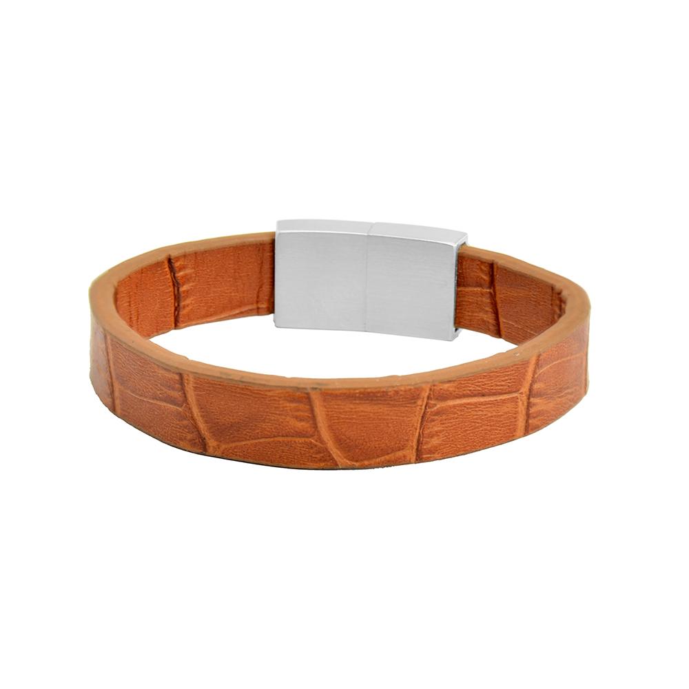 Frank 1967 Leather 7FB 0347 Heren Armband Echt leer Licht bruin-Zilverkleurig