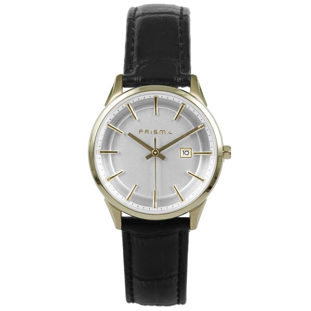 Prisma Stainless Steel Dames horloge P1573 - Leer - Zwart