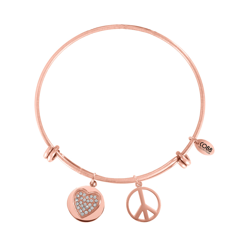 CO88 Armband 'Hart-Peace' staal-rosékleurig, all-size 8CB-10007