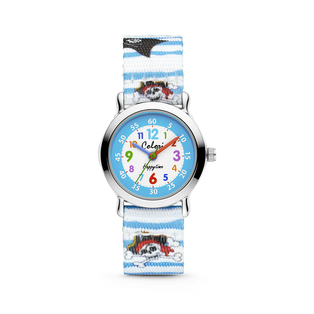 Colori Kidz 5 CLK107 Kinderhorloge met Piraten - Kunststof Band - Ø 27 mm - Wit - Blauw