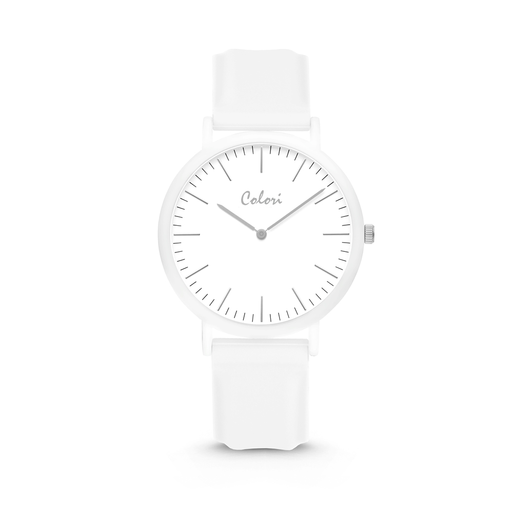 Colori Essentials 5 COL579 Horloge - Siliconen Band - Ø 40 mm - Wit
