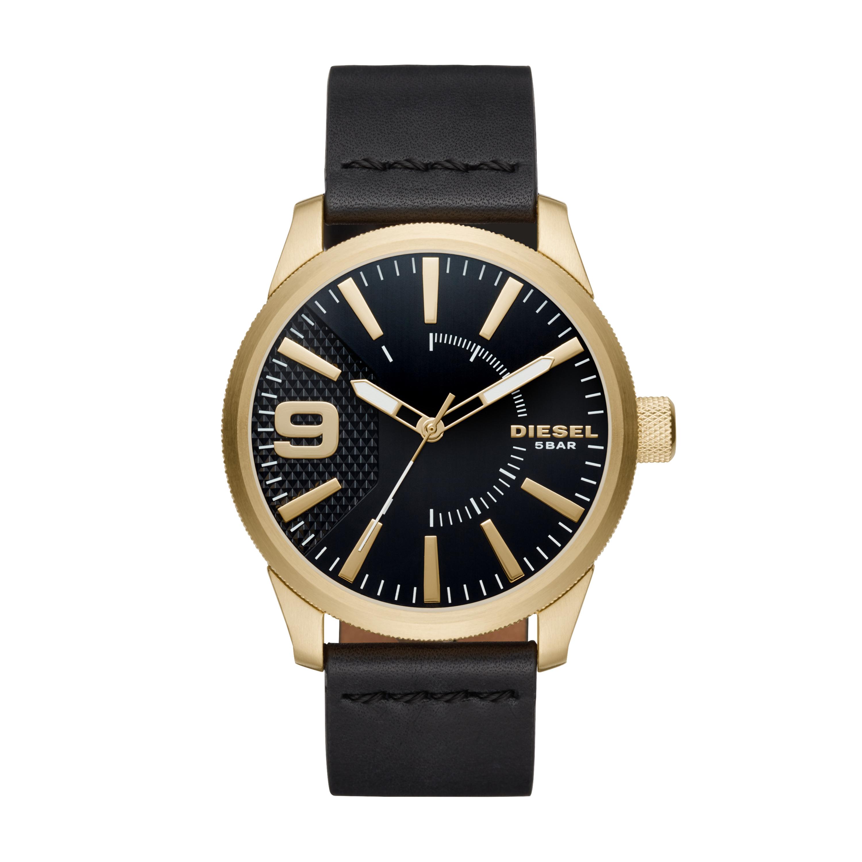 Diesel Horloge staal leder goudkleurig zwart 53 mm DZ1801