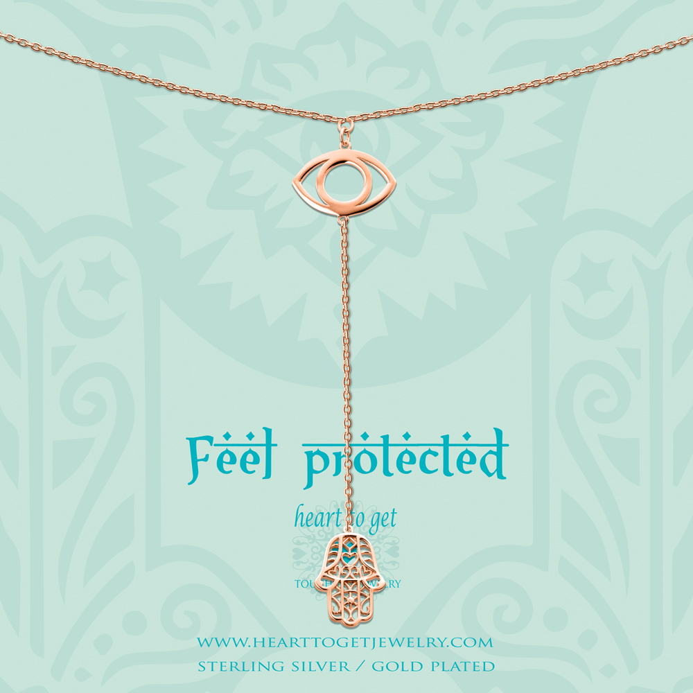 Heart To Get N242EYH15R Necklace Eye And Hamsa Feel Protected 45 Cm + 10 Cm Chain With Hamsa Charm F