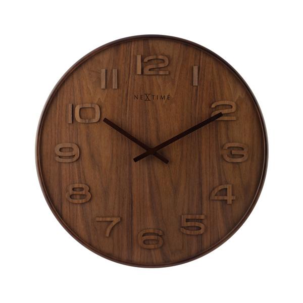 NeXtime Wood Wood Wandklok 35,5 cm Bruin