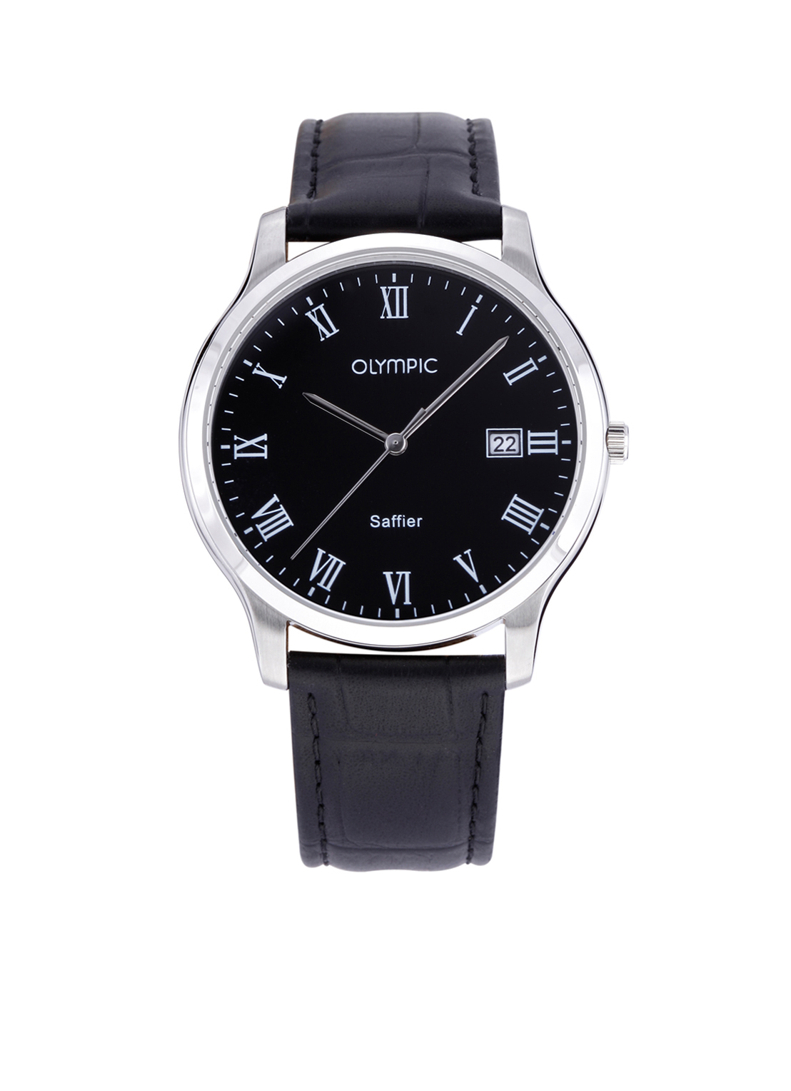 Olympic OL26HSL060 Ravenna Horloge Leer Zwart 40mm Heren