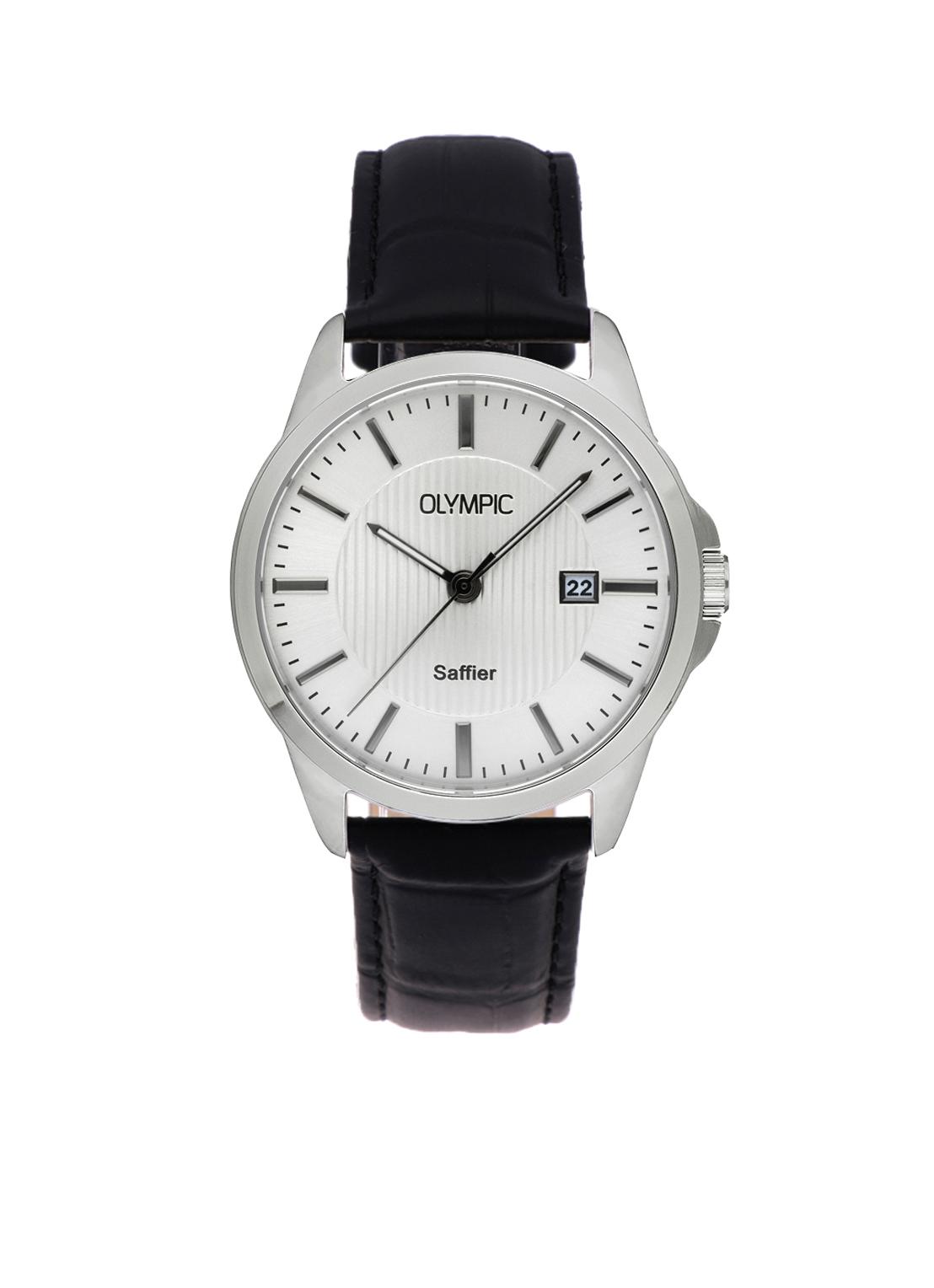 Olympic OL26HSL069 Bari Horloge Leer -Zwart- 39mm Heren