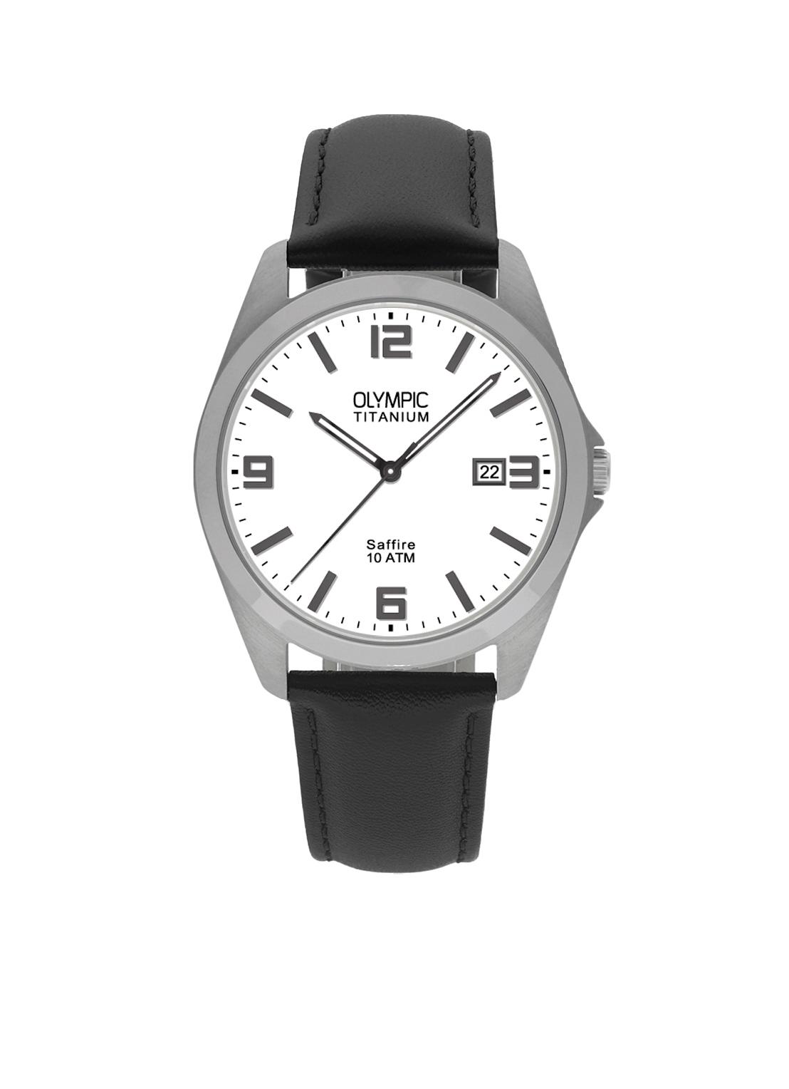 Olympic OL26HTL202 Bergamo Horloge Leer Zwart 38mm Heren
