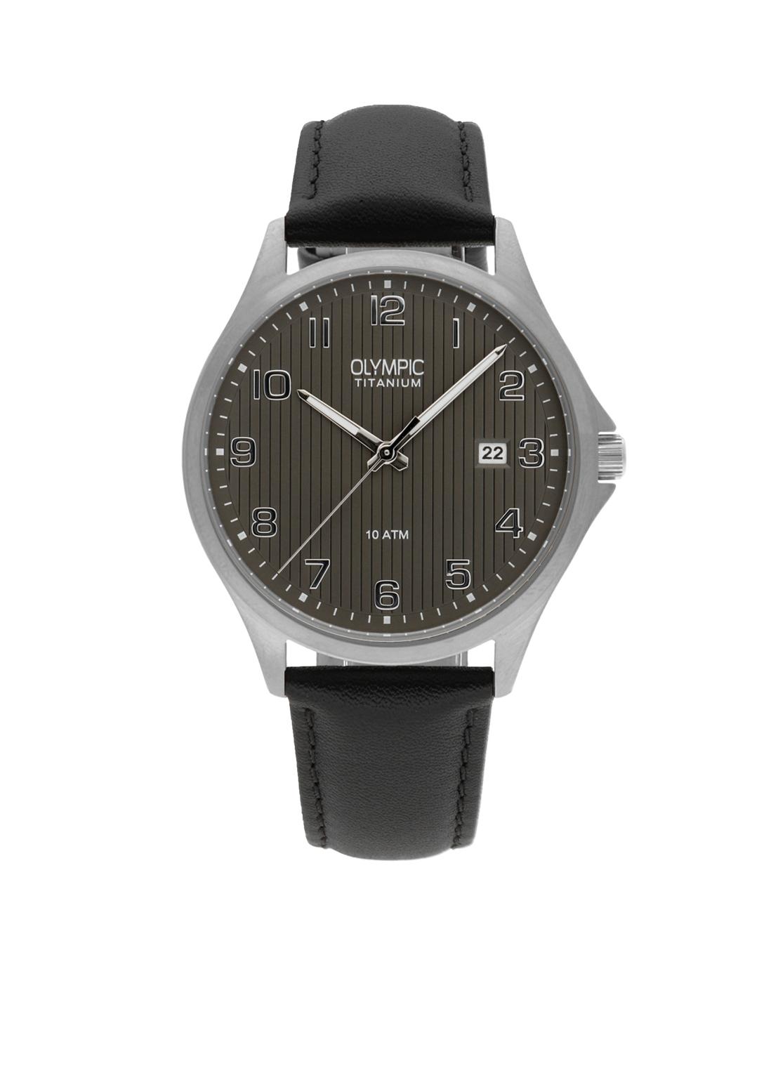 Olympic OL26HTL211 Ferrara Horloge Leer Zwart 40mm Heren