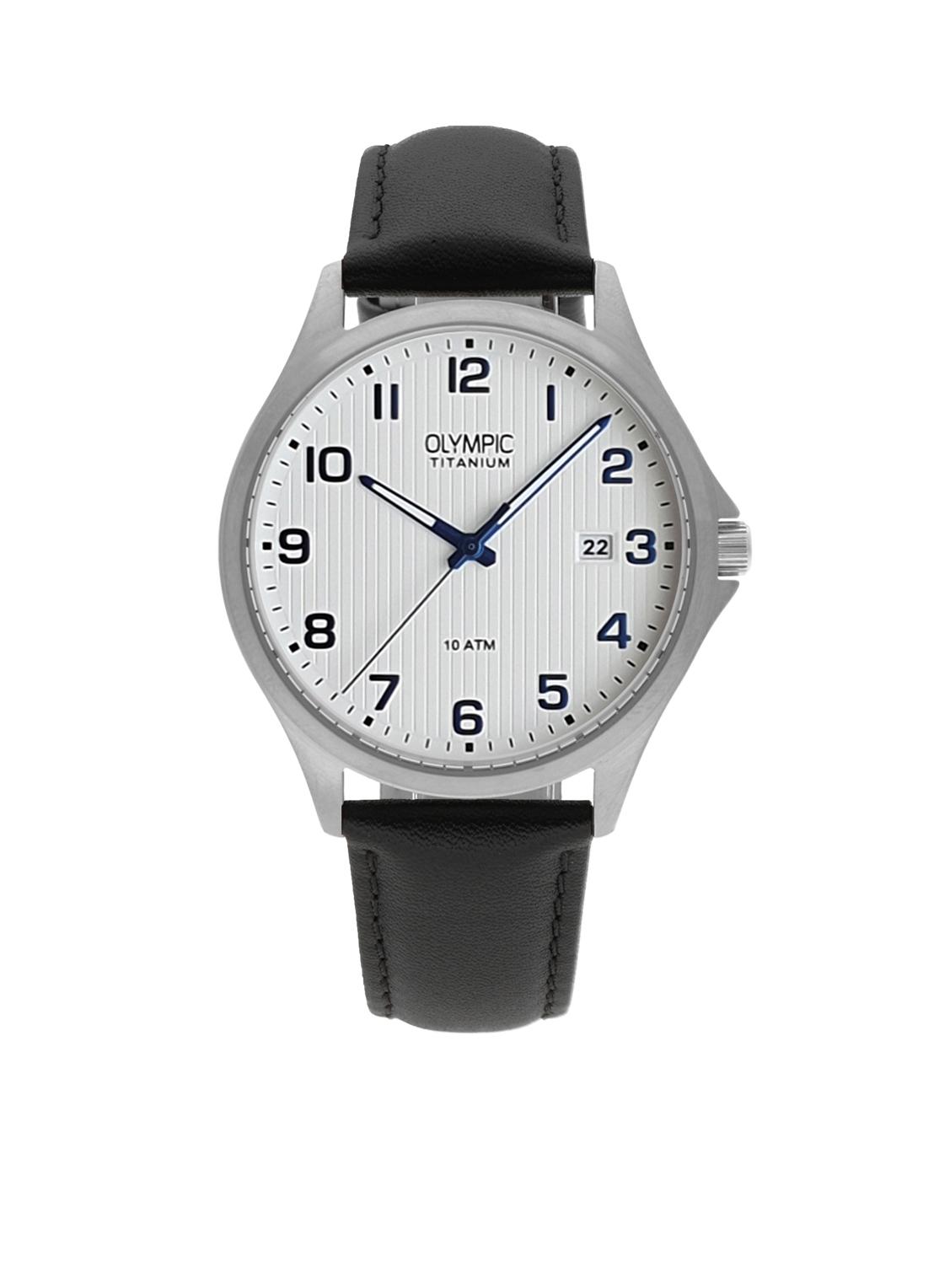 Olympic OL26HTL212 Ferrara Horloge Leer Zwart 40mm Heren