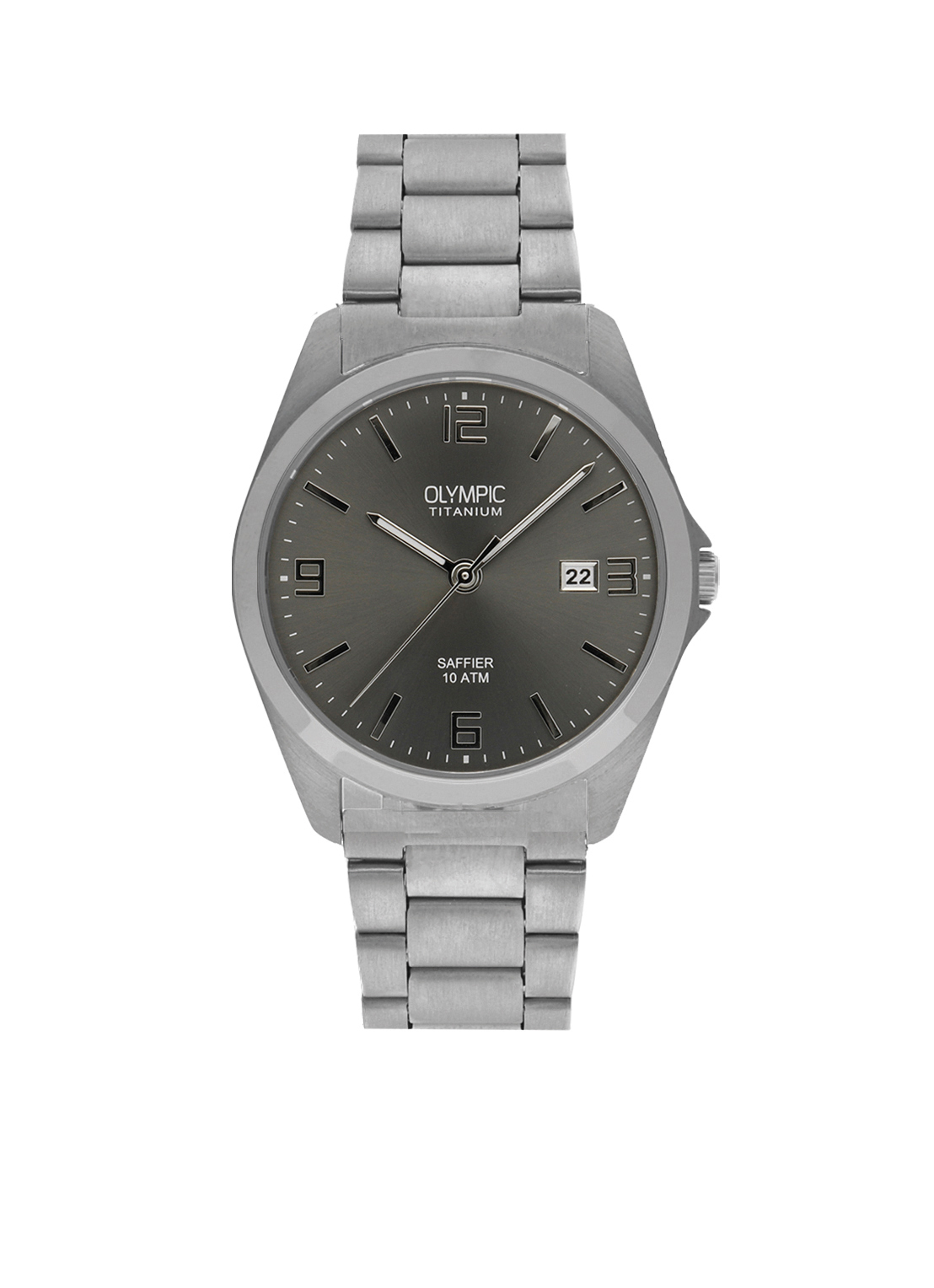 Olympic OL26HTT201 Bergamo Horloge Titanium Zilverkleurig 38mm Heren
