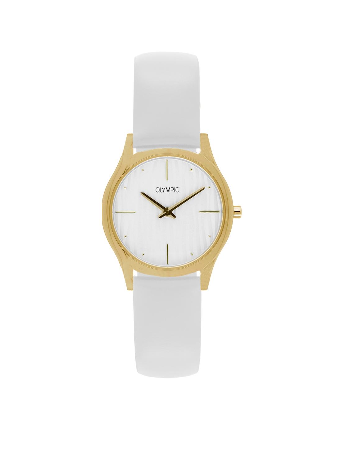 Olympic OL67DDL002 Horloge Vicenza staal goudkleurig-wit 32 mm