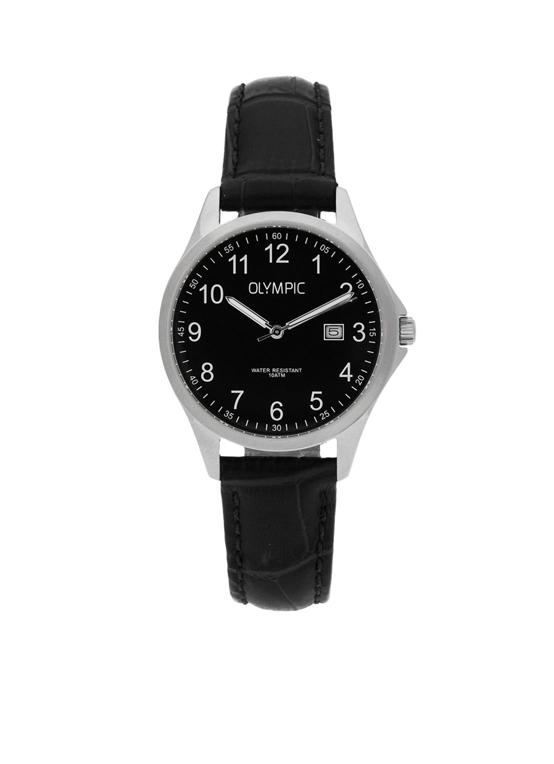 Olympic OL72DSL044 Horloge Baltimore staal-leder zilverkleurig-zwart 29 mm