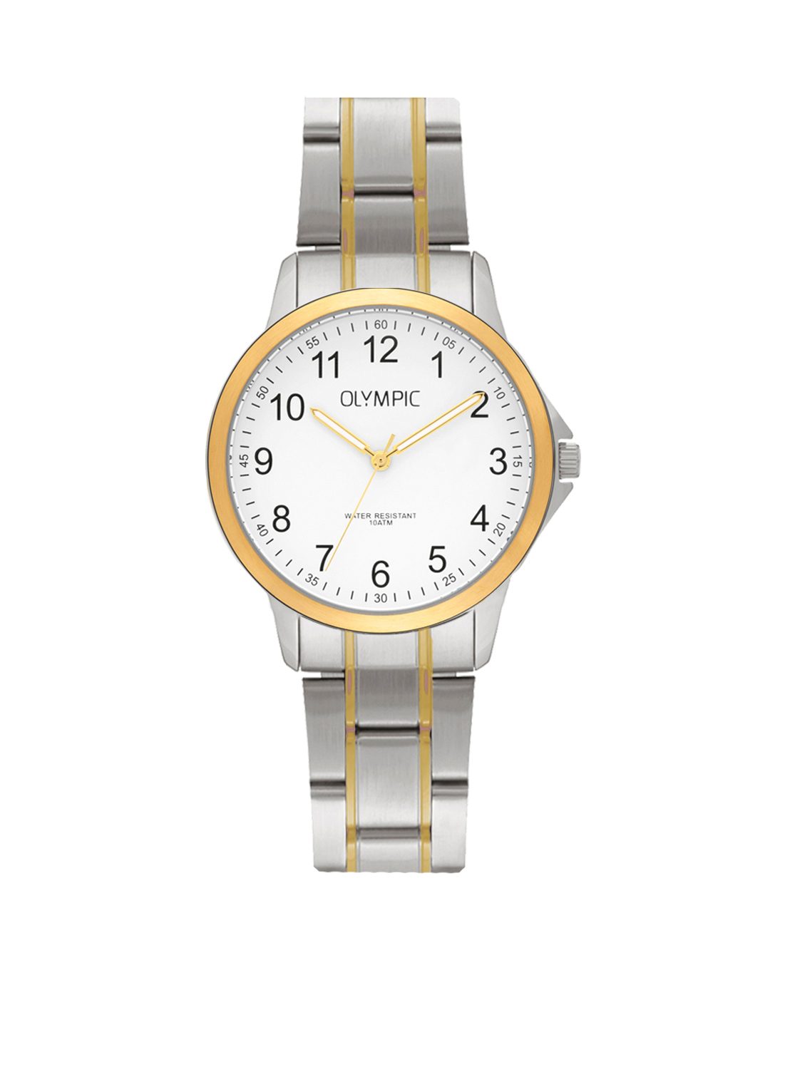 Olympic OL72DSS001B Horloge Baltimore staal zilver- en goudkleurig-wit 29 mm