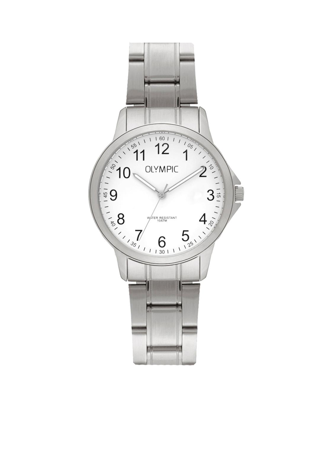 Olympic OL72DSS085 Horloge Baltimore staal zilverkleurig-wit 29 mm