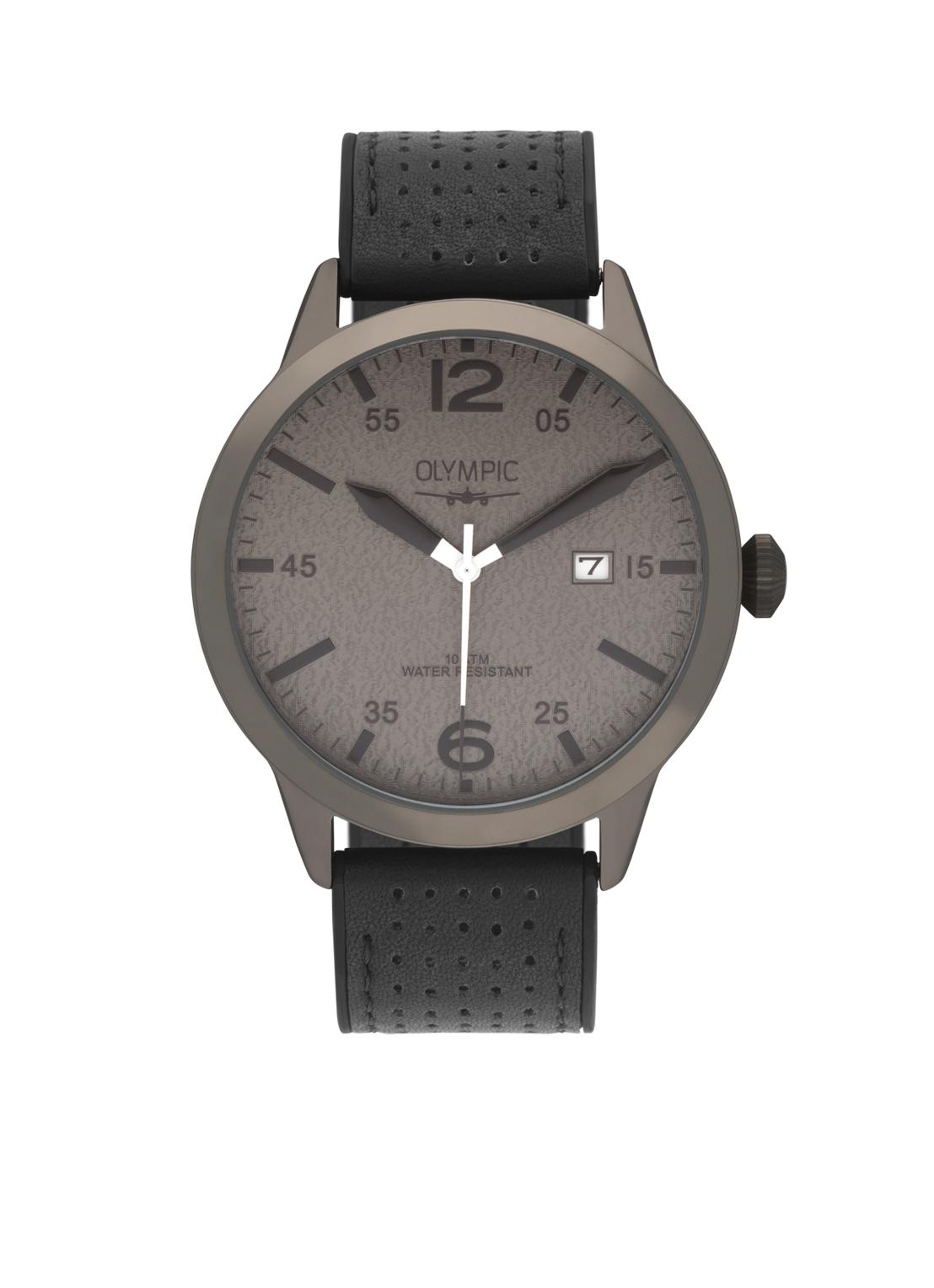 Olympic OL72HGL001 Rugby Horloge Leer Zwart 45mm Heren