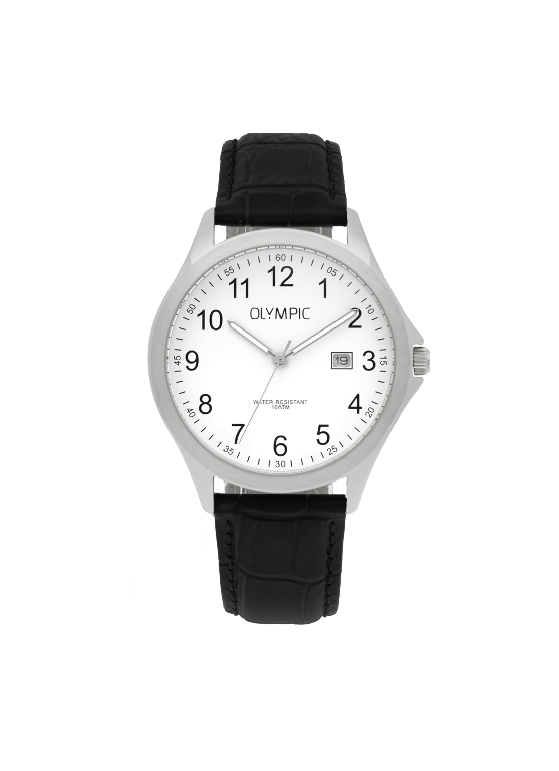 Olympic OL72HSL048 Baltimore Horloge Leer Zwart 40mm Heren