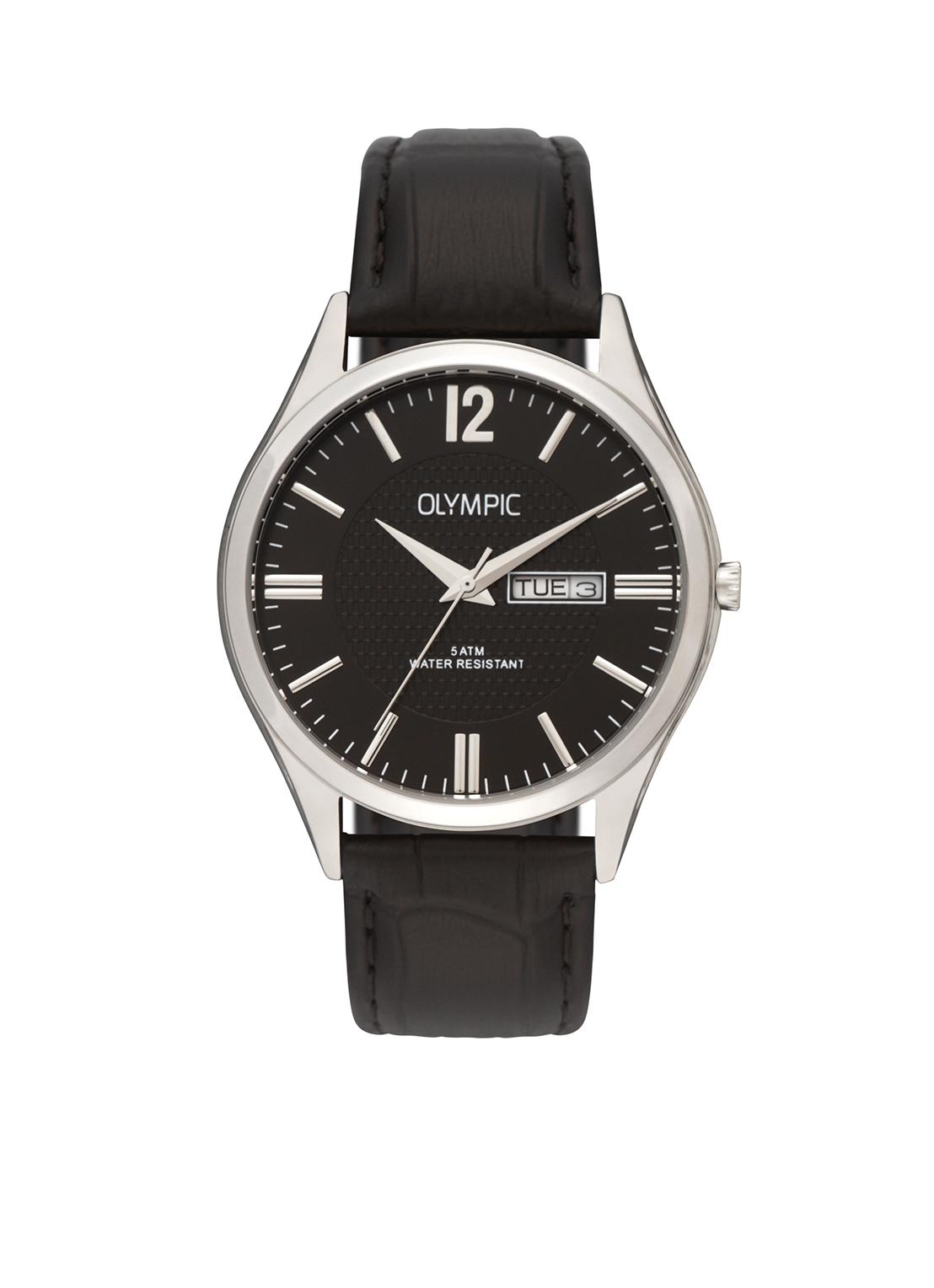 Olympic OL88HSL001 Torino Horloge Leer Zwart 40mm Heren