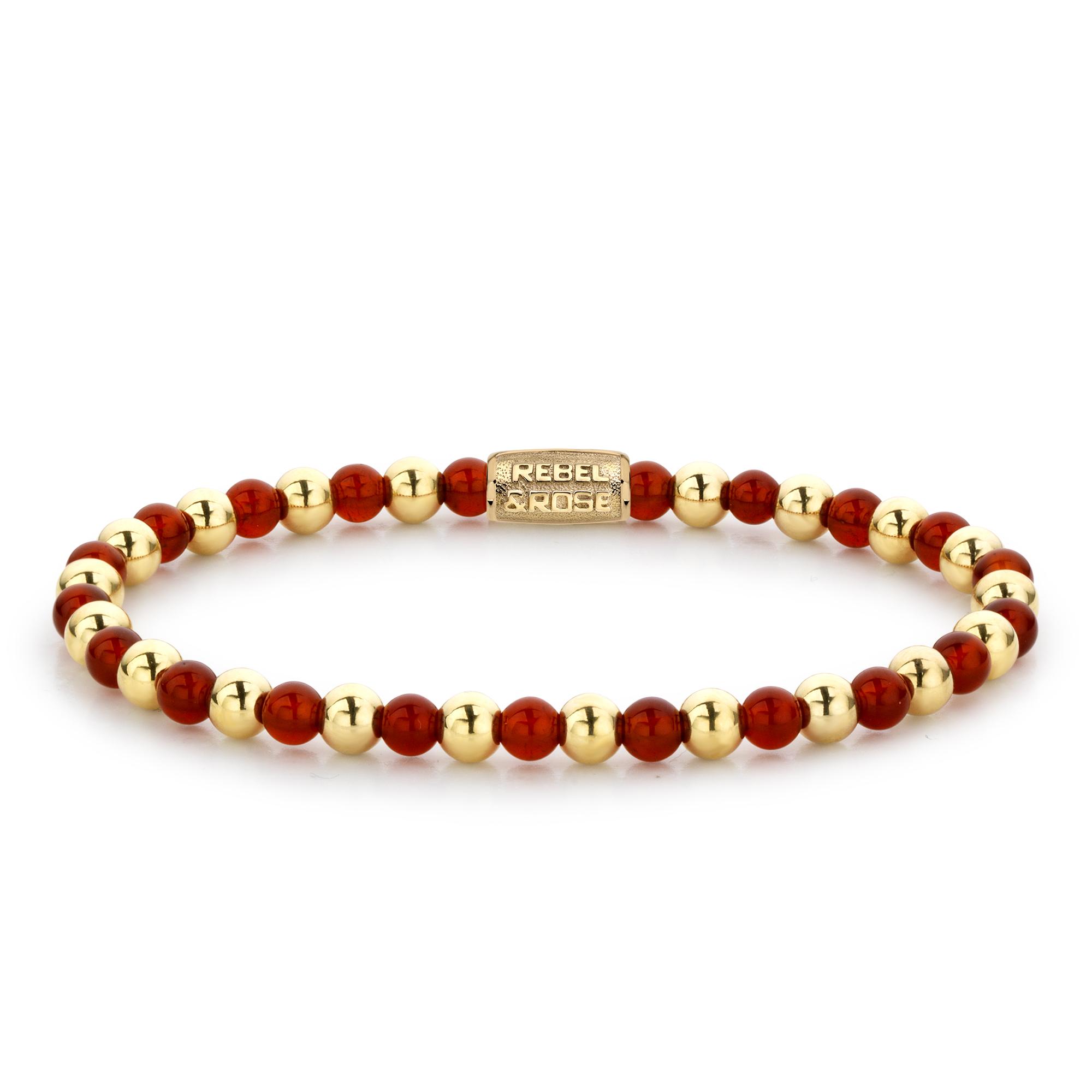 Rebel and Rose RR 40050 G Rekarmband Beads Mix Amazing Grace rood goudkleurig 4 mm XS 15 cm