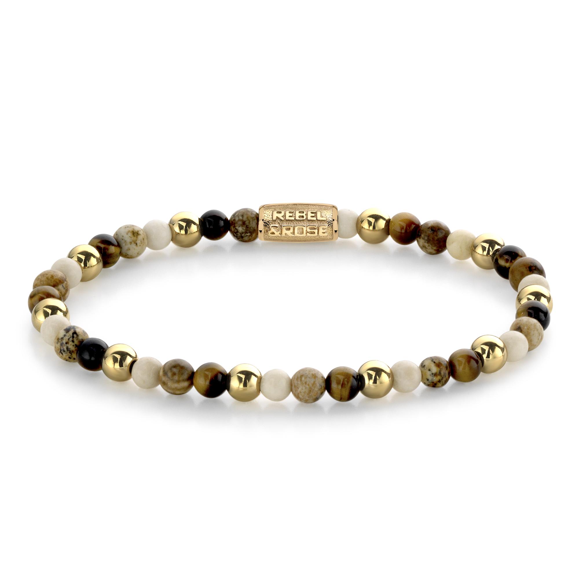 Rebel and Rose RR 40057 G Rekarmband Beads Autumn Love bruin beige goudkleurig 4 mm XS 15 cm