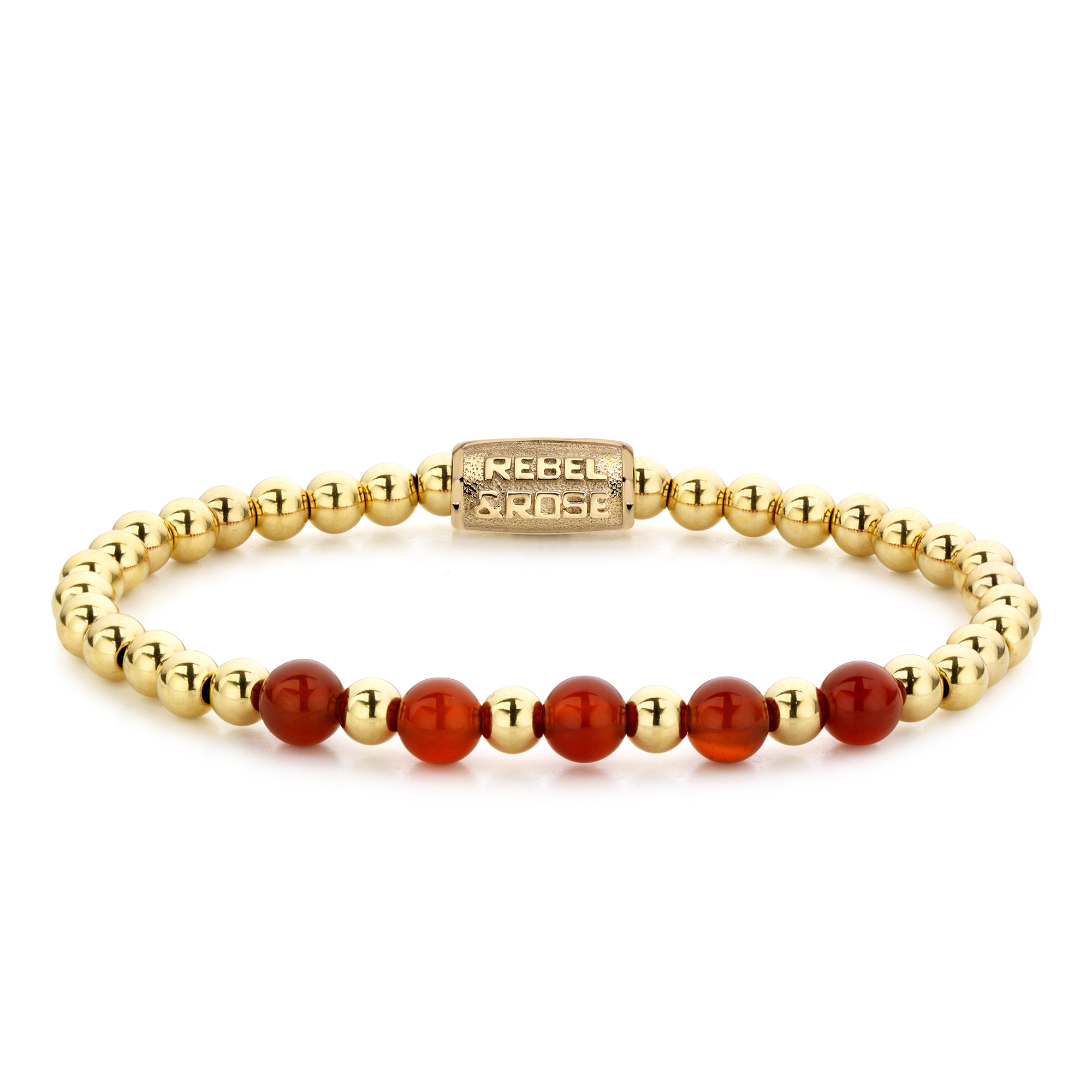 Rebel and Rose RR 60064 G Rekarmband Beads Yellow Gold meets Amazing Grace goudkleurig rood 6 mm XS 15 cm