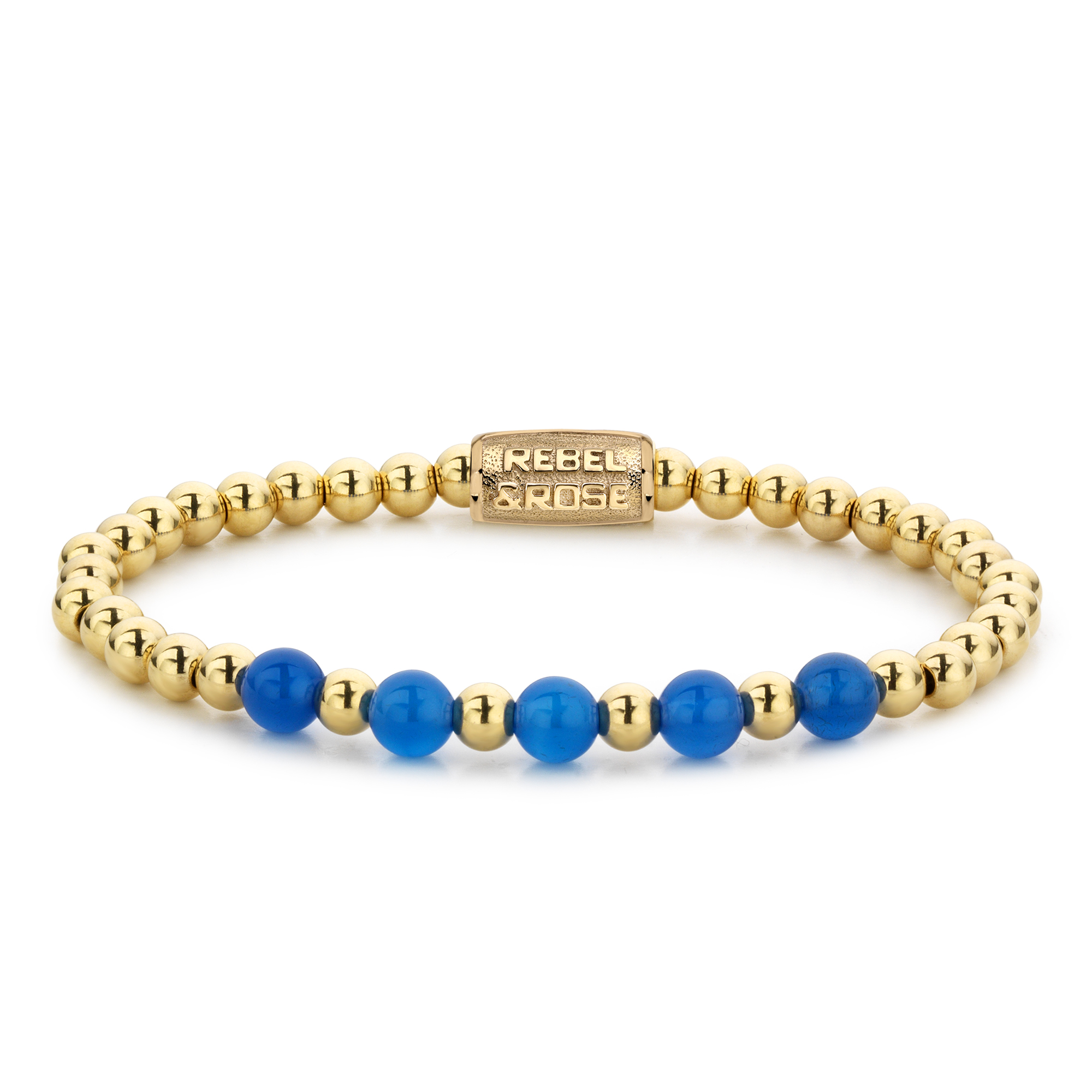 Rebel and Rose RR 60066 G Rekarmband Beads Yellow Gold meets Brightening Blue goudkleurig blauw 6 mm XS 15 cm