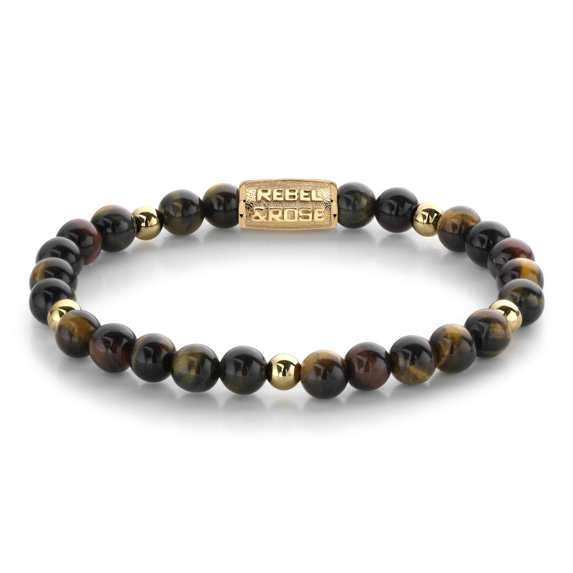 Rebel and Rose RR 60076 G Rekarmband Beads Who's afraid of the tiger II goudkleurig bruin 6 mm S 16,5 cm