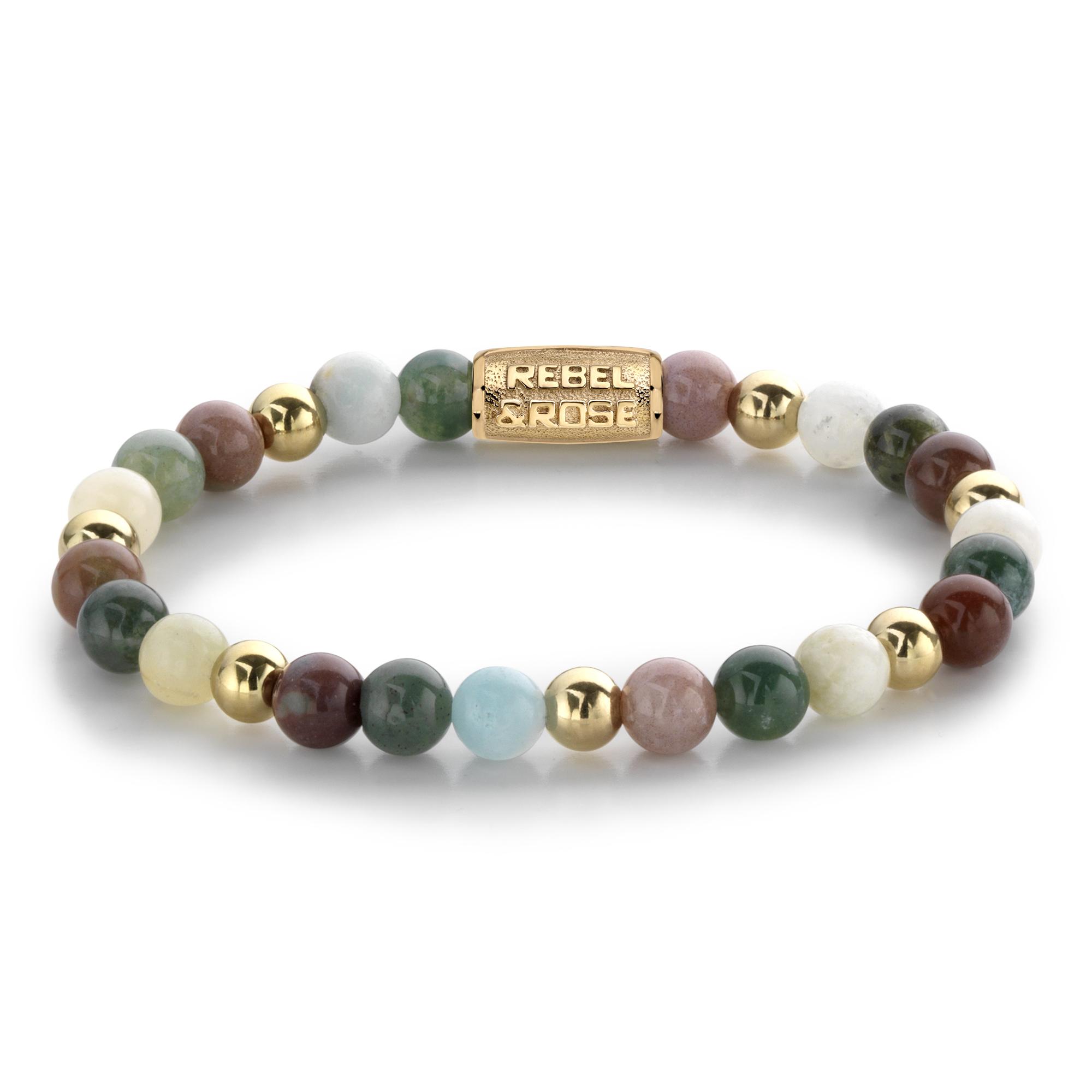 Rebel and Rose RR 60077 G Rekarmband Beads Spring Shine meerkleurig goudkleurig 6 mm S 16,5 cm