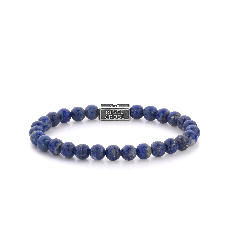 Rebel and Rose RR 6S002 S Rekarmband Beads Lapis Lazuli 925 zilver 6 mm zilverkleurig blauw L 19 cm