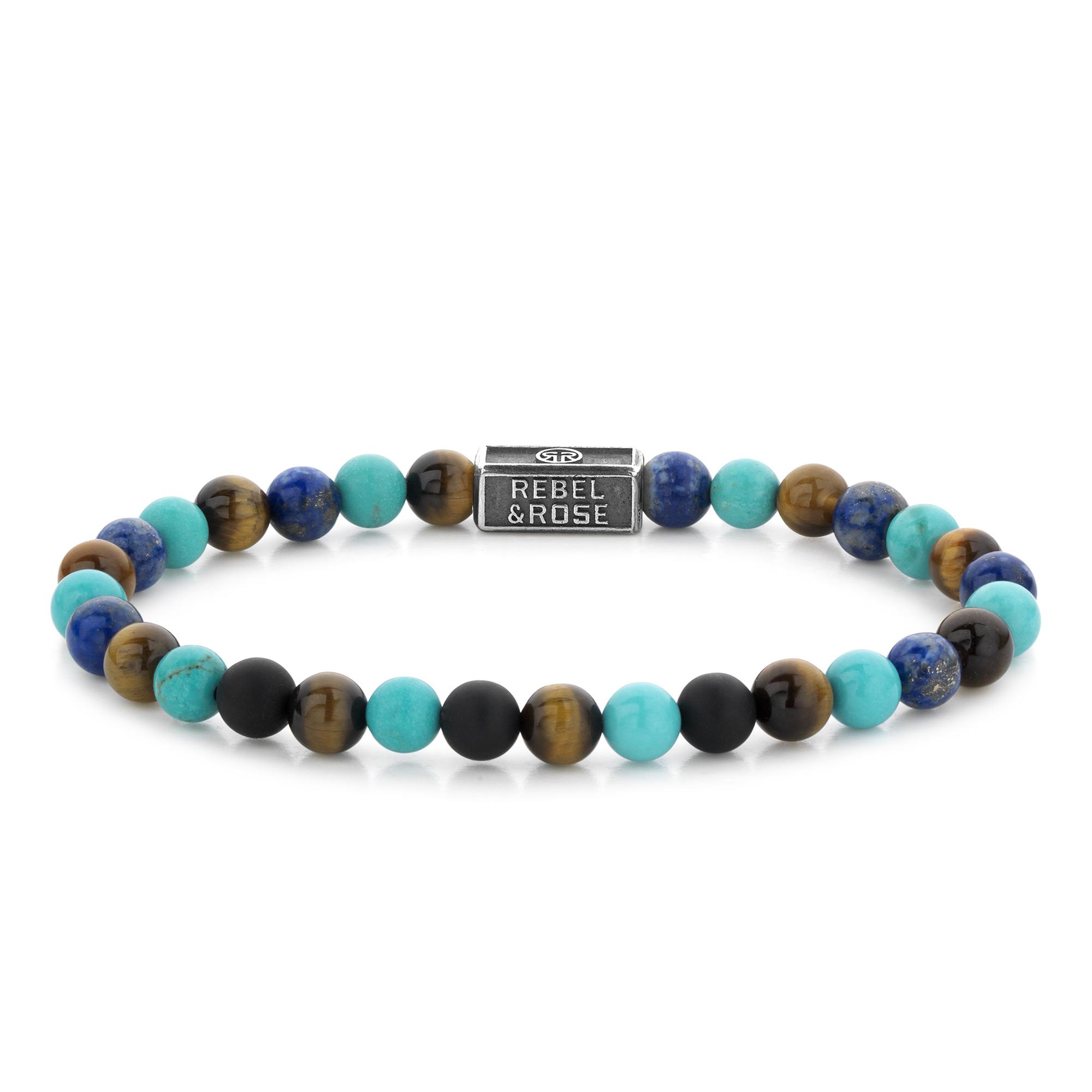 Rebel and Rose RR 6S006 S Rekarmband Beads Mix Turquoise 925 zilver 6 mm meerkleurig S 16,5 cm