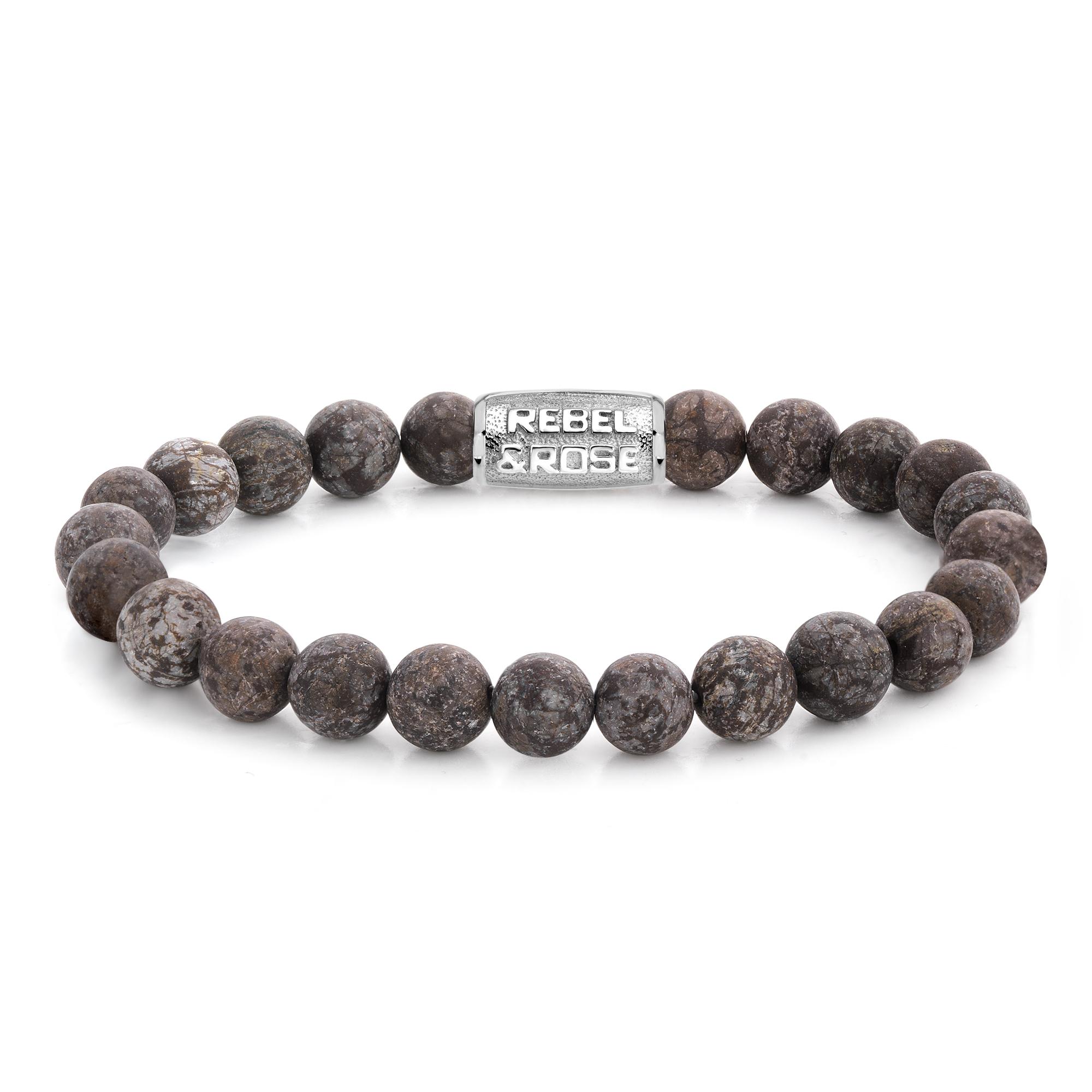 Rebel and Rose RR 80031 S Rekarmband Beads Matt Brown Sugar zilverkleurig bruin 8 mm XL 21 cm