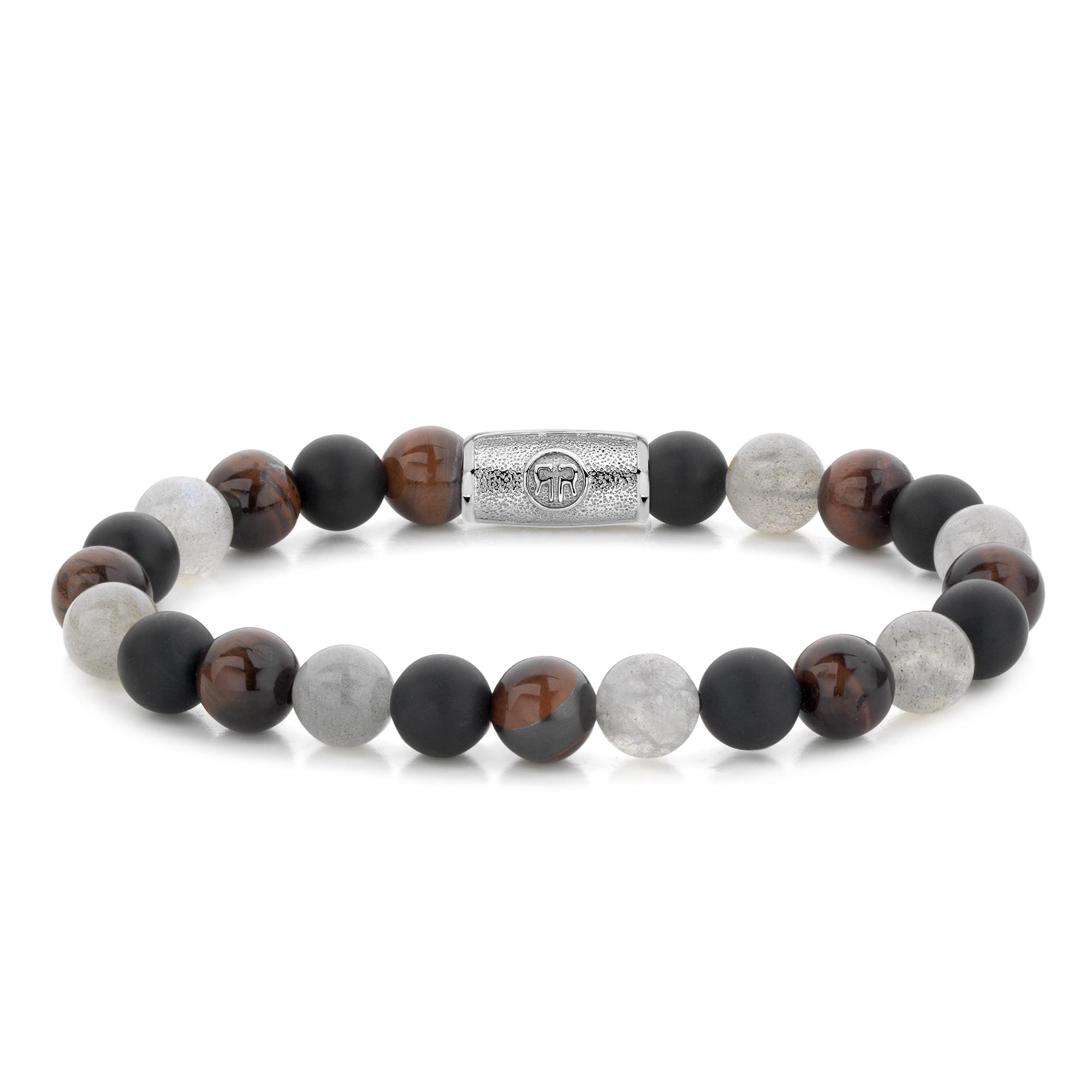 Rebel and Rose RR 80070 S Rekarmband Beads Fall Feelings zilverkleurig wit bruin zwart 8 mm S 16,5 cm
