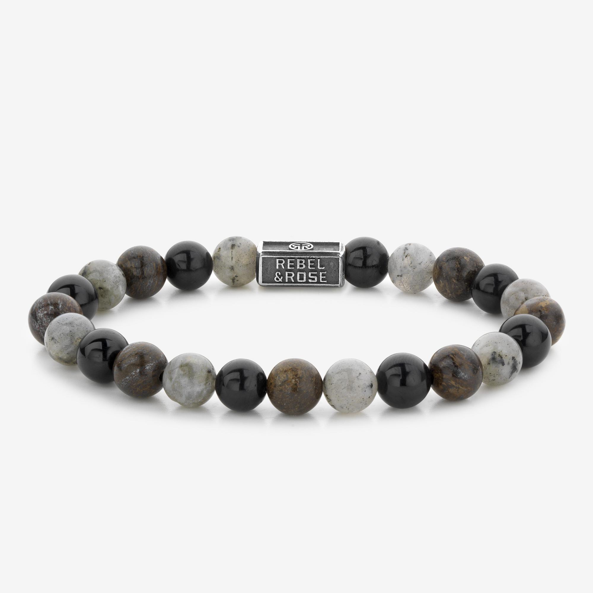 Rebel and Rose RR 8S007 S Rekarmband Beads Mix Brown zilver 8 mm zilverkleurig bruin S 16,5 cm