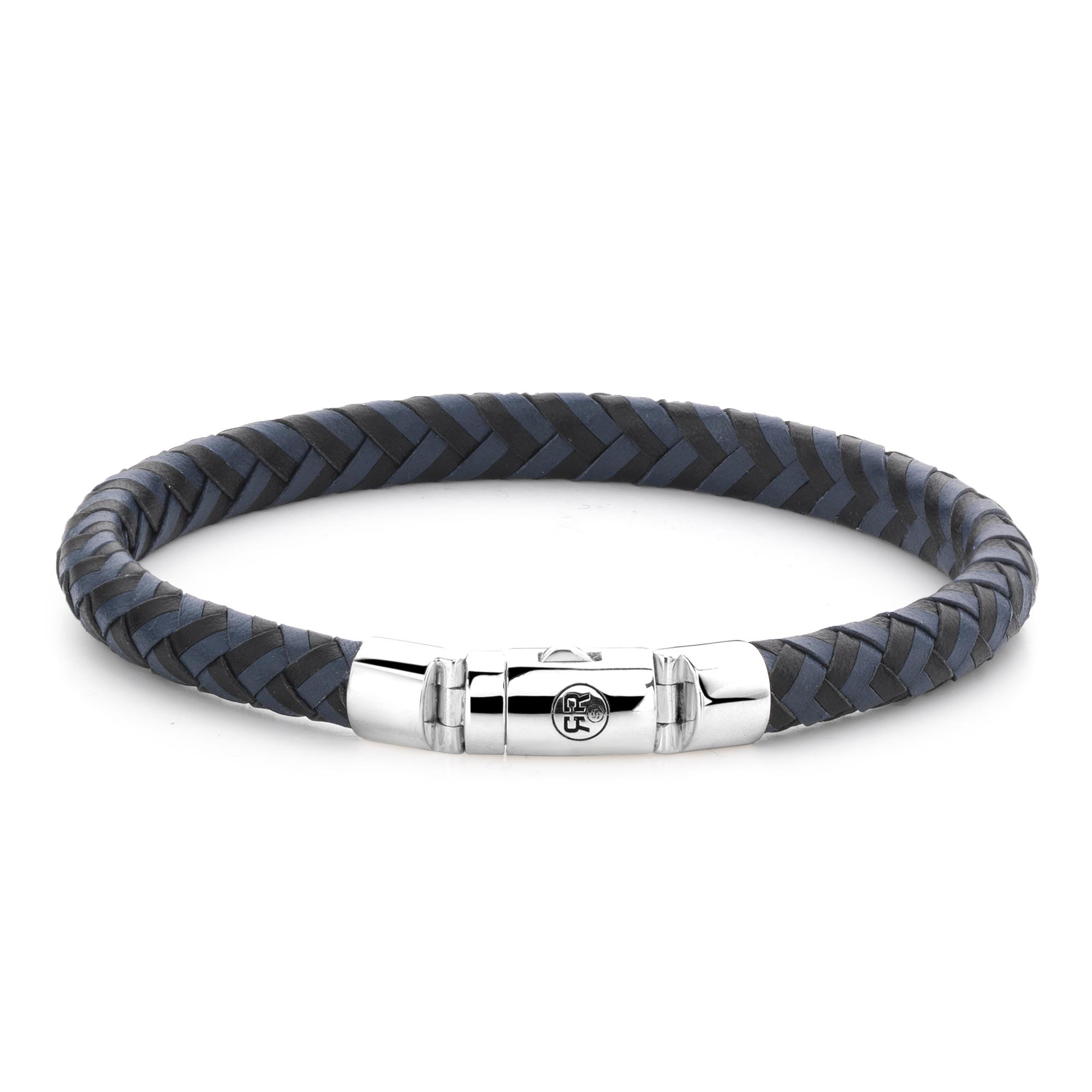 Rebel and Rose RR L0063 S Armband Half Round Braided Black Blue leder zilver zwart blauw 7,5 mm L 21 cm