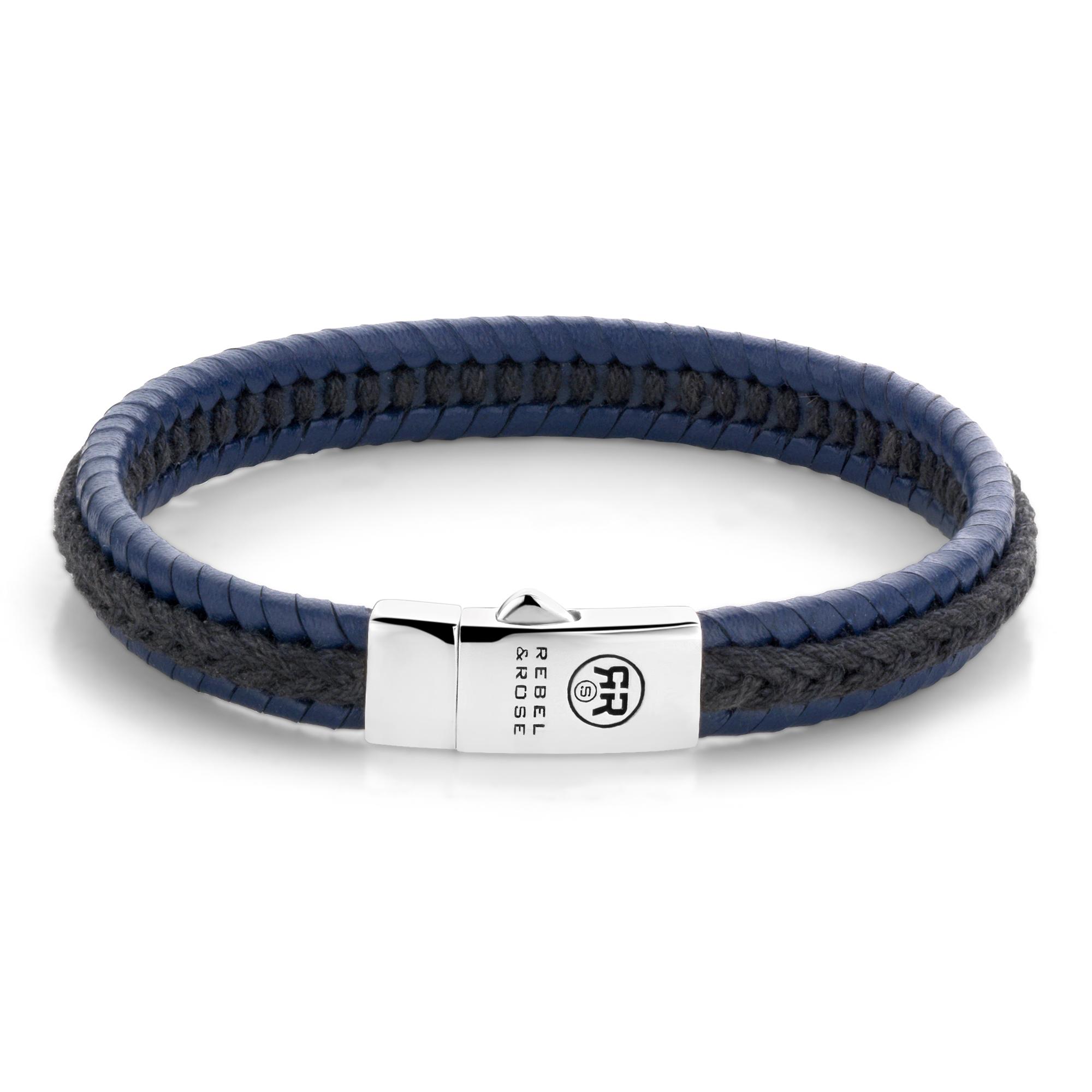 Rebel and Rose RR L0066 S L Armband Dual Twisted Black Blue leder zilver zwart blauw 9 mm XL 23 cm